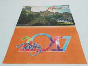 Calendario pared lámina 4+4 tintas plastificada y faldilla 12 meses
