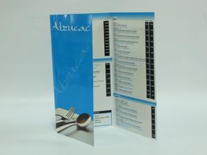 Carta restaurante 15,5x30,5 cm tipo tríptico, plastificado brillo