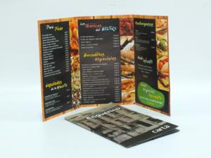 Carta restaurante 16x26,5 cm 4+4 tintas tipo tríptico y plastificado mate