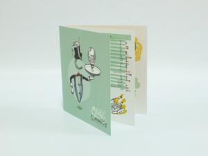 Carta restaurante 21x21cm 4+4 tintas tipo revista con 3 hojas grapadas y plastificado mate