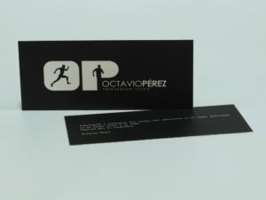 Tarjeta 18x7,5 cm 1+1 tintas y plastificado mate